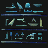 A Selection of Egyptian Hieroglyphs in Turquoise Glazes with Details in Dark Blue