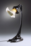 A Rare Wheel-Carved Glass and Bronze Table Lamp
