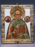 Faberge Jewelled Silver-Gilt and Guilloch Enamel Icon of Saint Nicholas