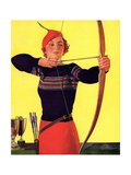 Woman Archer Takes Aim with Her Bow and Arrow