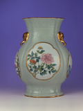 A Fine and Rare Famille Rose Celadon-Ground Vase with a Gilt Outlined Enamel of Prunus and Roses