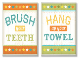 Brush Your Teeth & Hang Up Your Towel Bath Wall Plaque Duo