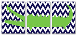 Alligator with Navy Chevron Triptych