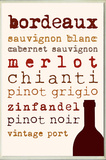 Wine Types Typography Kitchen Wall Plaque