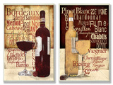Red and White Wine Typography Kitchen Wall Plaque Duo