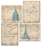 Paris and NYC Typography and Scenes Set of 4