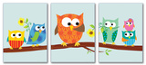 Owls on Branch Set of 3 Part 2 Wall Plaques