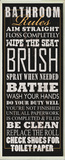 Black Bathroom Rules Typography Tall Wall Plaque