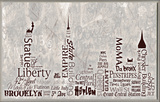 NYC City Skyline Typography Wall Plaque