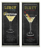 Lemon Drop and Dirty Martini Chalkboard Wall Plaque Duo