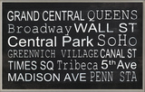 NYC Train Station Stops Wall Plaque