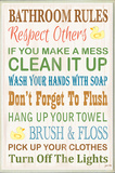 Bathroom Rules Typography Rubber Ducky Bath Plaque
