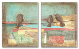 Birds on Wires Pastel Style Oversized Duo Wall Plaques