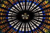 France  Alsace  Strasbourg  Strasbourg Cathedral  Stained Glass Window  Rose Window