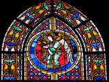 France  Alsace  Strasbourg  Strasbourg Cathedral  Stained Glass Window  Angel