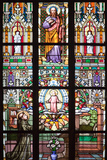 Prague  St Vitus Cathedral  Stained Glass Window  St Thomas  St Anthony Kneeling before Baby Jesus