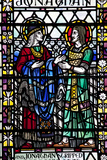 England  Somerset  Bath  Bath Abbey  Stained Glass Window  Jonathan and David