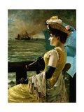 A Lady with a Parasol Looking Out to Sea