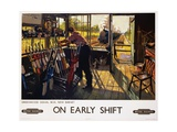 On Early Shift Railroad Advertisement Poster