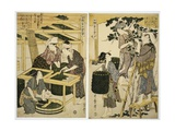 Prints Depicting the Harvesting and Preparation of Mulberry Leaves from Silkworm Culture