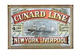 Cunard Line Between New York and Liverpool Poster