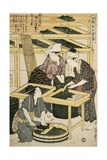 Print Depicting Women Cutting Mulberry Leaves from Silkworm Culture
