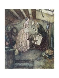 Illustration Depicting Sleeping Beauty Watching an Old Woman Spin