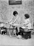 1920s Two Little Girls Playing Ironing Washing Doll Clothes