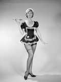 1960s Nonplused Blonde Woman Character Wearing French Maid Costume