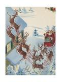 Reindeer Pulling Santa Claus in Sleigh