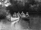 1930s Summertime Group of Five Young Men and Women in Two Canoes Paddling Down a Stream