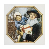 Illustration for the Book Best Baby  Depicting Mother and Child at Christmas