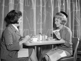 1960s Two Women Having Lunch in Coffee Shop Restaurant