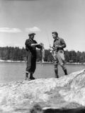 1930s Two Fishermen Holding Up Days Catch Lake of the Woods Ontario Canada