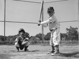 1960s Two Boys Playing Baseball Batter and Catcher at Home Plate