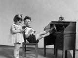 1930s Two Children Boy and Girl Playing Office Boss Feet on Desk Secretary Taking Dictation