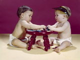 1960s Two Babies Sitting at Red Stool Playing Cards Poker with Gambling Chips