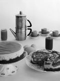 1950s Coffee Pot Cups and Saucers and Two Dessert Cakes
