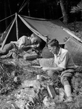1920s Two Men at Primitive Campsite One Man in a Frame Tent Lighting Cigarette