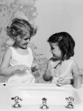 1930s Two Girls at Bathroom Sink Holding Toothbrush
