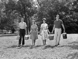 1960s Two Teenage Couples Going on Picnic