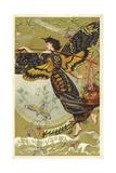 Atropos Acherontia  Solanum Dulcamara  Eau Des Carmes Boyer Perfume Victorian Trade Card