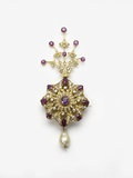 Spinel and Diamond Sarpesh with a Natural Pearl Drop
