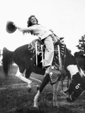 Young Woman on Phony Pony, Ca. 1940 Papier Photo