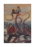 Illustration of Octopus Attacking Sailor