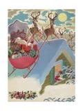 Santa Claus on Roof with Reindeer and Sleigh