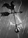 Rooster Weathervane in Rain and Lightning Storm