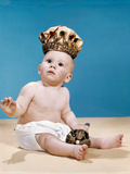 1960s Baby Wearing Cloth Diaper and Crown Holding a Scepter