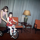 Older Sister Helps Her Sister with New Bike  Ca 1967