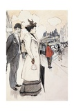 Book Illustration Showing a Street Scene with a Couple Waiting for a Trolley